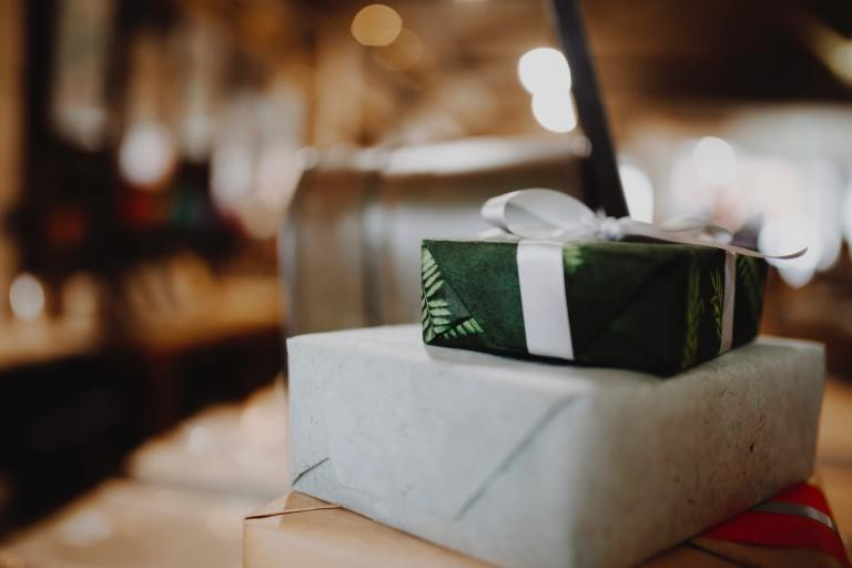 gift boxes blurry